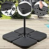 Juskys Schirmgewicht 4er-Set Quad für Schirmständer mit 60 Liter Wasser oder 80 kg Sand befüllbar...