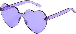 lunettes de soleil coeur Lunettes de Soleil en Gelée de Mode Unisexe Rétro Sexy Sans Cadre Lunettes de Soleil de Plage Voy...