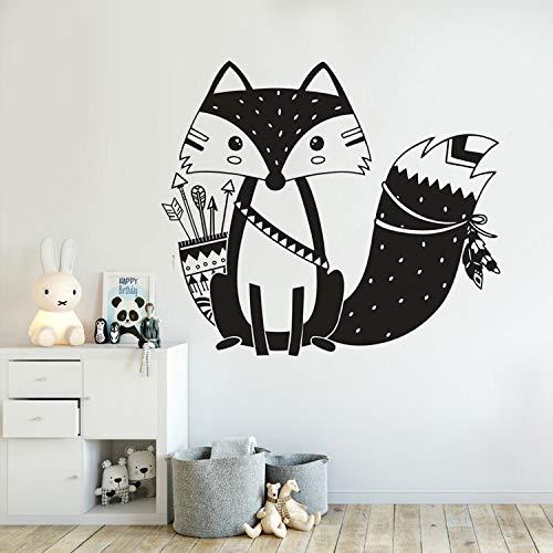 Woodland style fox tatuajes de pared tribal fox con flecha vinilo etiqueta de la pared decoración del dormitorio de los niños tema animal fox decoración de la pared etiqueta A9 42x37cm