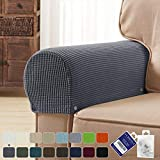 subrtex Spandex Stretch Fabric Armrest Covers Anti-Slip Furniture Protector Armchair Slipcovers for Recliner Sofa Set of 2 with Free Fixing Tools Twist Pins (Gray), Two Pieces