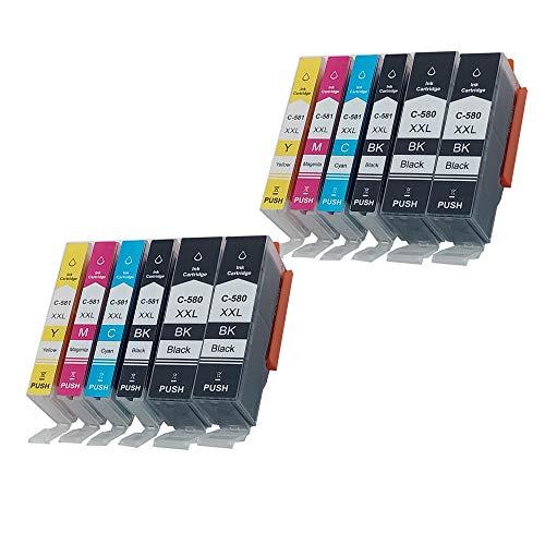 Pure-color vervangende PGI-580XXL CLI-581XXL inktcartridges compatibel voor Canon CTS6151 TS6150 TR7550 TR8550 TS6250 TS6251 TS9551 TS9550 (4PGBK 2BK 2C 2M 2Y) 12 stukken