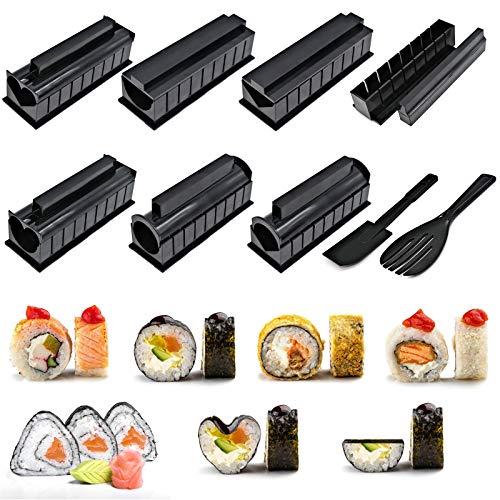 Sushi kit,Sushi Maker Kit 10 pezzi fai da te per sushi maker con 8 forme, perfetto per i principianti di sushi fai da te anche come regalo