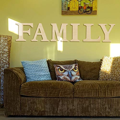 6 Pieces 12 Inch Unfinished Wooden Letters Large Family Wood Decor Letter Sign Alphabet Cutout Letter for Living Room, Kitchen, Mantel Decoration Wedding, Housewarming Party