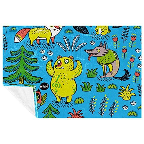 BestIdeas Blue Foxes - Manta para cama, sofá, picnic, camping, playa, 150 x 100 cm