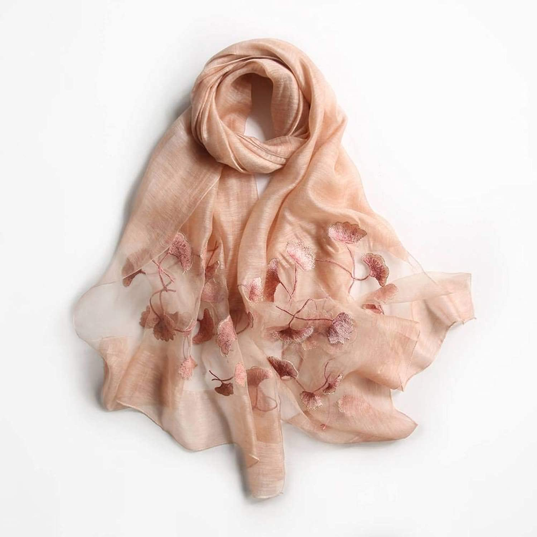 Elegant Ladies Pure color Silk Female Decorative Flowers Long Silk Scarf Autumn and Winter Outdoor MultiFunctional Fashion Trend Wild Warm Shawl Scarf Gift, QiXian, orange Pink