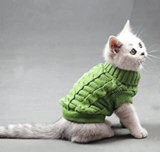 Evursua Pet Cat Sweater Kitten Clothes for Cats Small Dogs,Turtleneck Cat Clothes Pullover Soft Warm,fit Kitty,Chihuahua,Teddy,Poodle,Pug