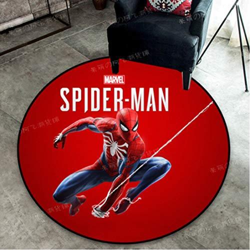 zzqiao Runder Teppich Cartoon Anime Avengers Helden Iron Man Spider-Man Schlafzimmer Computer Drehstuhl Korb Teppich Kristall Samt Durchmesser Größe 120Cm