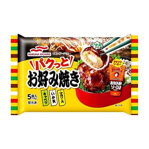 マルハニチロ パクっとお好み焼き 5個 110g ×12袋(送料無料)(冷凍食品)/レンジ調理 /豚肉 /お弁当 /いか天 /マヨソース
