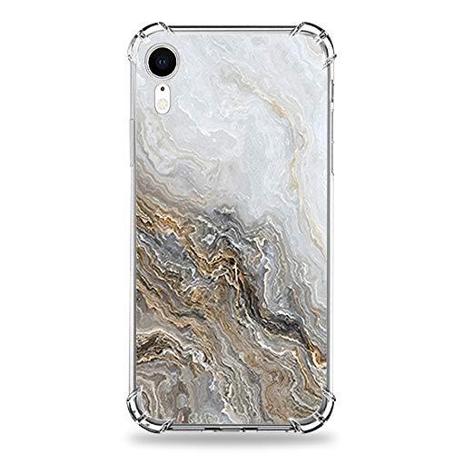wonfurd [Tiere Schmetterling Marmor Muster Transparent] kompatibel mit iPhone XR Hülle (6.1 Zoll) Süße Zeichnung weichem TPU mit Panzerglas Schutzfolie iPhone XR case Blumen Garten-3