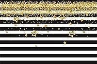 AOFOTO 写真背景幕 9×6フィート 白黒ストライプ キラキラ光る星 スパンコール 装飾 ベビーシャワー 誕生日パーティー 写真背景布 ビニール 子供 大人 女の子 写真スタジオ小道具