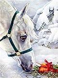 Pintura de diamante 5d Animal taladro completo redondo bordado de diamantes caballo decoraciones de otoño para el hogar A11 30x40cm