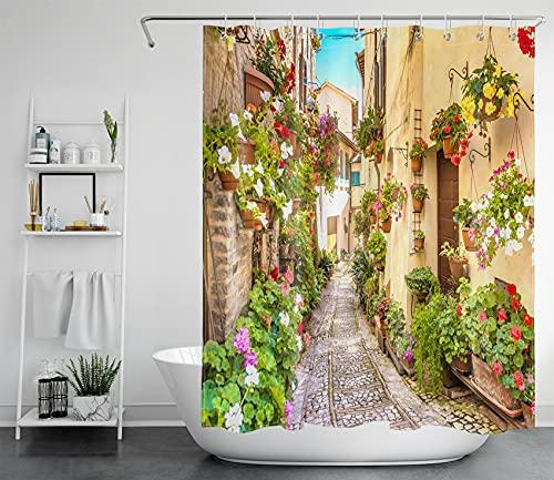 LB Blumen Straße Duschvorhang Antischimmel Wasserdicht Badezimmer Gardinen Italien Stadt Pflanzen Landschaft 120x175cm Polyester Bad Vorhang mit Haken