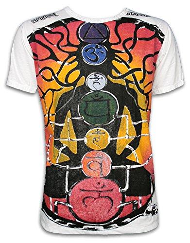 Mirror Guru Chakras Buddha Goa Yoga - Camiseta para hombre Blanco L