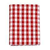 Pizzería ajedrez mantel–Rectangular–100% algodón–rojo y blanco cuadrados, 100% algodón, Rojo, 6 Napkins 18 x 18