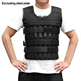 Weighted Vest 11lbs/33lbs/77lbs Adjustable Weights Jacket Breathable Shockproof Weightloading Vest with Multi Pockets