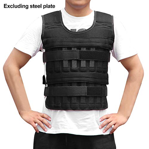 Weighted Vest 11lbs/33lbs/77lbs Adjustable Weights Jacket Breathable Shockproof Weightloading Vest with Multi Pockets for Running, Pull-Ups, Weight Lifting, Fitness, Workout, Exercise, Weight Loss