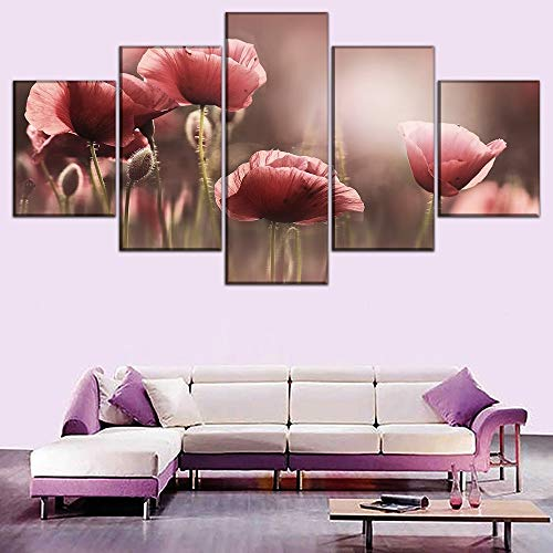Marco modular Lienzo moderno HD Impreso Imágenes Sala de estar Decorativa 5 paneles Poppy Flower Painting Wall Art Poster Cuadros