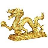 Bwinka Figura de dragón chino Feng Shui dorado símbolo de suerte y éxito, adornos de dragón chino