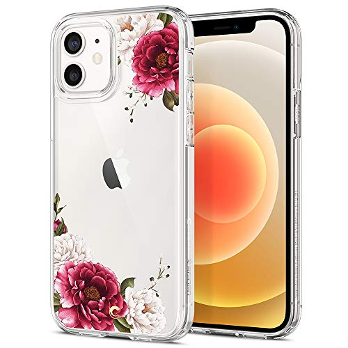 CYRILL Cecile kompatibel mit iPhone 12 Pro & iPhone 12 Hülle, (2020) (6,1 Zoll) Transparent Motiv Hart PC Back und Soft Silikon Bumper Handyhülle Durchsichtige Hülle - Rot Blumen