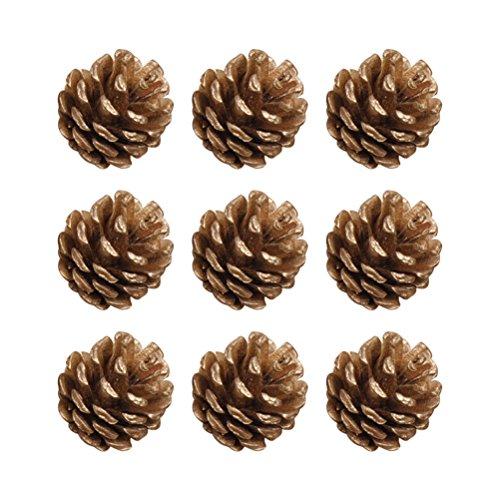YeahiBaby 9pcs Tannenzapfen Christbaumschmuck natürliche Tannenzapfen Weihnachtsdeko Adventsdeko Weihnachtsbaum Anhänger 4cm (Gold)