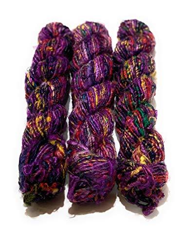 Recycled Chunky Banana Silk Yarn for Knitting, Weaving and Crochet/Thick Yarn 100gm (Purple)