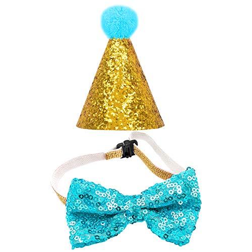YOFASEN Sombrero Para Perro Con Pajarita Para Mascotas, Sombrero De Cumpleaños Para Gato, Conjunto De Disfraces Para Fiestas Navideñas, Artículos De Decoración, Adecuado Para Bebés, Niñas Y Niños,Azul