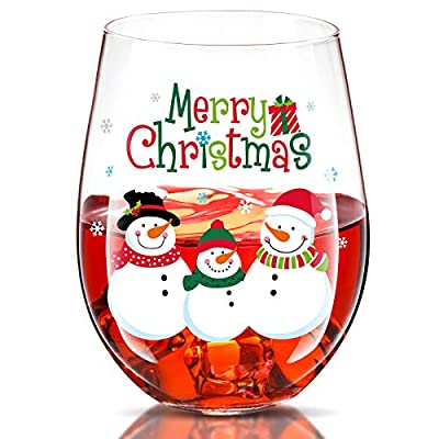Merry Christmas Snowman Stemless Wine Glass 17 Oz Christmas Funny Wine Glass Mug for Friends Women Men Christmas Wedding Party Winter Holiday Birthday Party Decorations