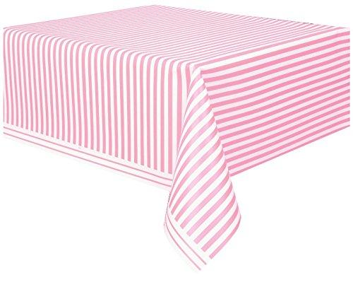 Unique Party - 50307 - Nappe - Plastique - Motif Rayé - 2,74 x 1,37 m - Rose Pastel