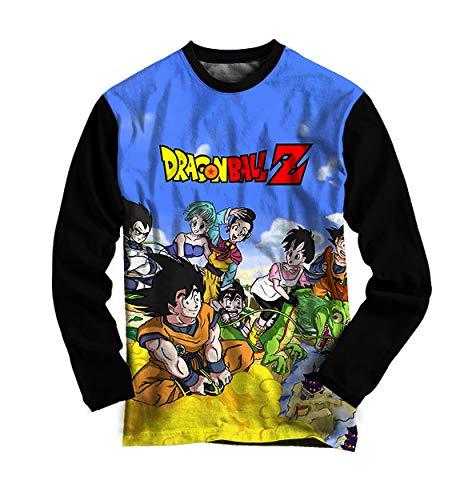 Camiseta Dragon Ball Z Manga Longa - Personagens - Azul - Camisa Anime Infantil e Adulto (M)