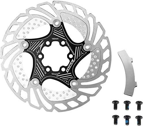 140MM 160MM 180MM 203MM Ciclismo Rotor de enfriamiento Flotante Enfriador de Bicicleta de Carretera MTB con Herramienta de alineación de Frenos (Color: Azul Tamaño: 160 mm)-140 mm_Negro Evolution
