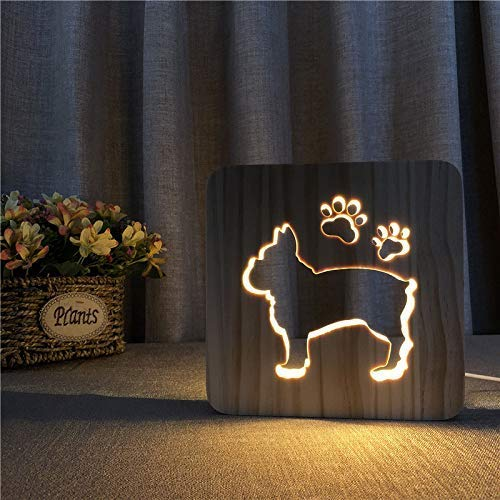 3D Bulldog francés luz USB noche LED lámpara para perros de madera Baby Room decoración blanco cálido Día del Padre