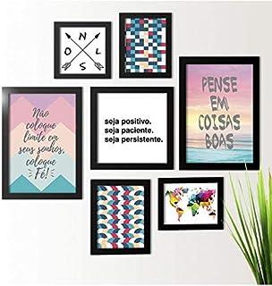 Kit de Quadros Decorativos 7 Peças Seja Positivo Los Quadros Preto