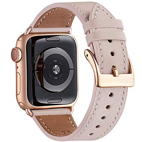 WFEAGL Kompatibel für Apple Watch Armband 40mm 38mm 42mm 44mm,Lederband mit Edelstahl-Verschluss Kompatibel für Serie 5 Serie 4/3/2/1(38mm 40mm, Rosa Sand+rosé Gold Quadratische Schnalle)