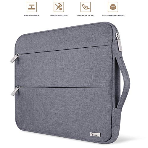 Voova 15 15.6 14 Inch Laptop Sleeve Case with Handle Compatible with MacBook Pro /15' Surface Book 2 /XPS 15 /Chromebook/HP/Lenovo, Waterproof Protective Cover Bag with 2 Accessory Pockets-Gray