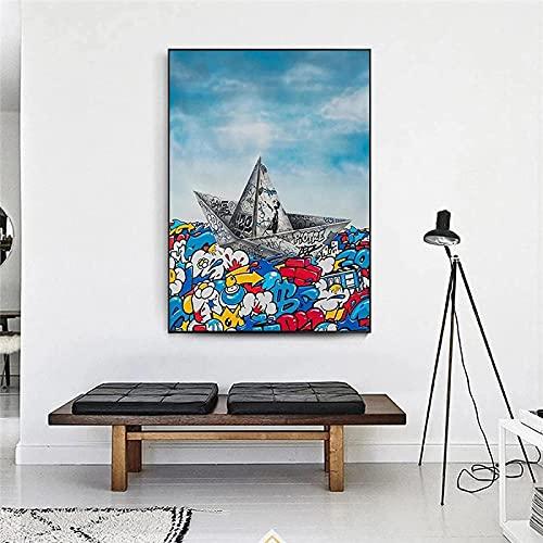 Póster arte de la pared 30x50 cm sin marco papel de graffiti barco de origami navegando carteles e impresiones nórdicos cuadros de arte de la pared sala de estar decoración del hogar