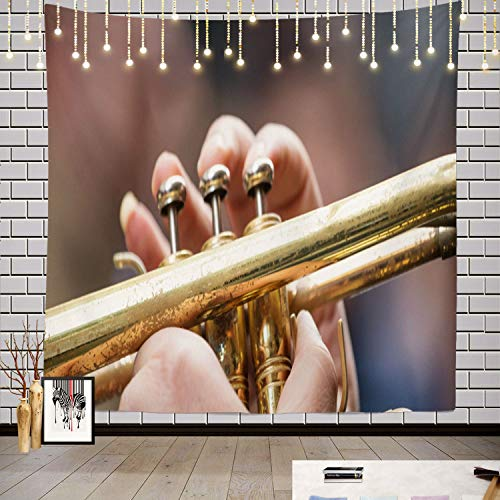 Batmerry Music Abstract Art Band Tapestry, Musician with Brass Trumpet Music Give Best Sound Banner Picnic Mat Hippie Trippy Tapestry Wall Art Decor for Bedroom Living Room, 59.1 x 59.1 Inches, Gold 1