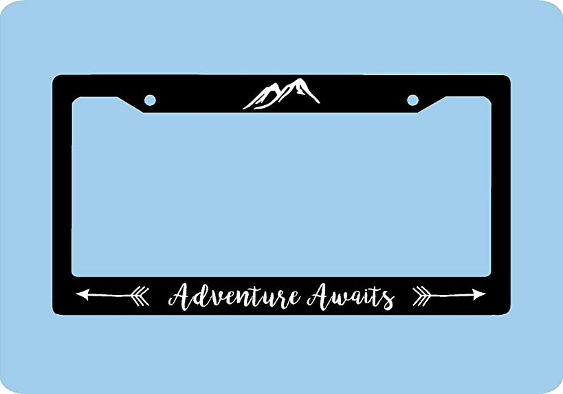 Dwi24isty Auto License Plate Frame Adventure Awaits License Plate Frame Mountains Arrows Adventure License Plate Frame Car Accessories License Plate Art