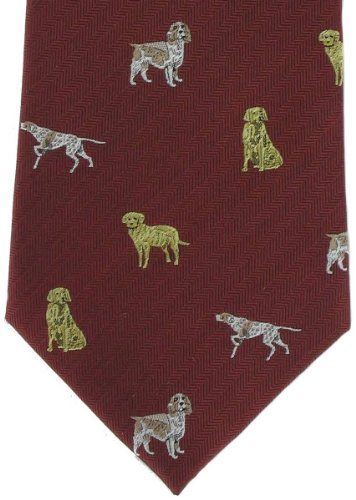 Michelsons of London Cravate rouge Gun Dogs soie de