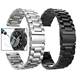 Valkit Compatible Gear S3 Frontier/Galaxy Watch 3 45mm Bands,22mm Stainless Steel Solid Wrist Band Metal Bracelet +Screen Protector for Gear S3 Frontier/Classic/Galaxy Watch 46mm, Sliver+Black