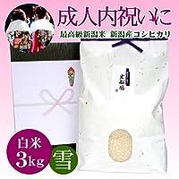 [成人内祝い]お祝いに贈る新潟米 新潟県産コシヒカリ 3キロ(アイガモ農法)