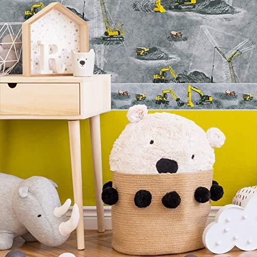 #Patterned.wallpaper PVC-vrije kinderkamer behang 3D vliesbehang + bijpassende rand graafmachine kraan bouwplaats creatieve speelkamer 10.05 m x 0.53 m Motief graafmachine kraan