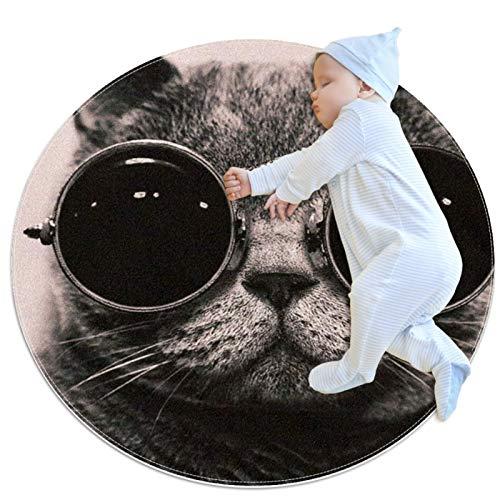 PLOKIJ Alfombra redonda para niños redonda redonda alfombra circular alfombra redonda lavable a máquina, el gato divertido con gafas
