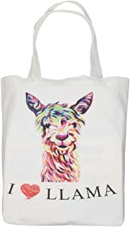 Volepet Llama Canvas Tote Bag - 16X16X4.7inch(40X40X12cm) Bottom Gusset Reusable Bags Washable Shopping Bag Grocery Tote Bag for School Travel Picnic