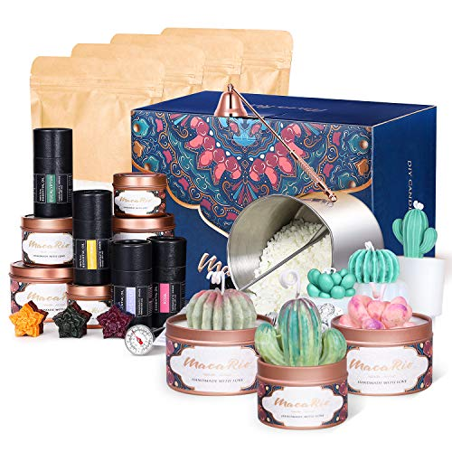 Candle Making Kit, MacaRio Luxury DIY Supplies, Tin & Silicone Mold Candles Gift Set, Soy Wax Pot Fragrance Scents Dyes Wicks Holders Snuffer Spoon Thermometer, for Adults Beginners Kids Candle Lovers