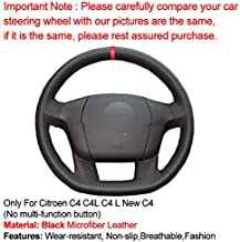 YYFTT For Hand Sew Car Steering Wheel Cover Red Marker For Citroen C4 C4L C4 L New C4 (No Multi Function Button) Auto Accessorie