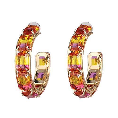 LSZFCHEH Fashion Circle Creolen für Frauen Hyperbole Ear Mehrfarbige Kristallohrringe Hochzeit Statement Schmuck