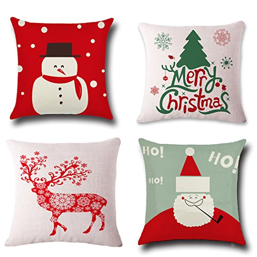 Christmas Pillow Covers 4 Pack,BPFY Print Snowman,Christmas Tree,Christmas Deer,Santa Claus, Merry Christmas Decorative Sofa Throw Pillow Case Cushion Covers 18 X 18 Inch,Cotton Linen