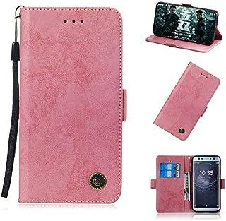 Sony Xperia XA2 Ultra 財布 シェル, Sony Xperia XA2 Ultra レザー シェル, Happon プレミアム PU レザー デザイン フォリオ 立つ バンパーバック カバー の Sony Xperia XA2 Ultra-Pink