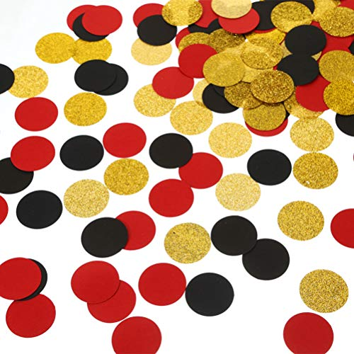 MOWO Glitter Paper Confetti Circles Table Decoration and Wedding Party Decoration, 1.2 in Diameter (Gold Glitter, Black, red,300pc)