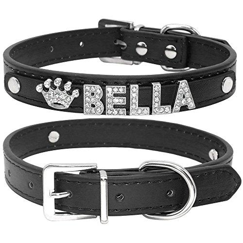 PMWLKJ Personalized Pet Name Pendant Necklace Collane Personalizzate con Strass Personalizzate Colletto Nero con Strass